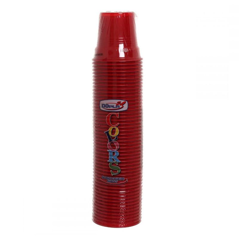 DOPLA COLORS Bicchieri biccherini colorati rossi SHOT – 50 pezzi 8005090005913